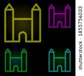 church neon color set icon....