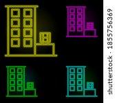 kiosk neon color set icon....