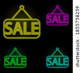 sale neon color set icon....