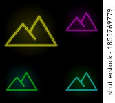 mountains sign neon color set...