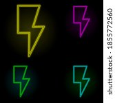 flash sign neon color set icon. ...