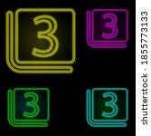 three sign neon color set icon. ...