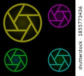 lens sign neon color set icon....