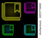 bookmark sign neon color set...