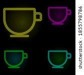 a cup neon color set icon....