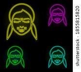 woman  correction wrinkle neon...