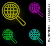 magnifier  global icon neon...