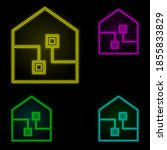 smart house neon color set icon....