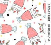 milkshake cup seamless pattern. ... | Shutterstock .eps vector #1855834399