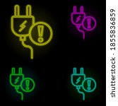 fork sign neon color set icon....