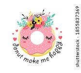 sweet donut and flower crown... | Shutterstock .eps vector #1855837369