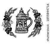 german stein beer mug in frame... | Shutterstock .eps vector #1855844716