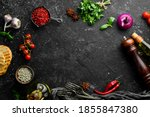 Black Stone Cooking Background. ...