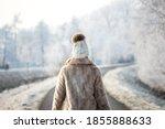 Woman Walk Outdoors In Winter....