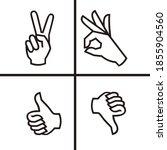 hand gesture line icon  hand... | Shutterstock .eps vector #1855904560
