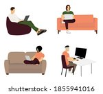 people stay at home. men and...   Shutterstock . vector #1855941016