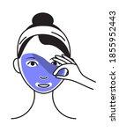 facial mask sheet applying icon ... | Shutterstock .eps vector #1855952443