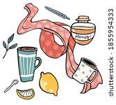 winter set of home medications. ... | Shutterstock .eps vector #1855954333