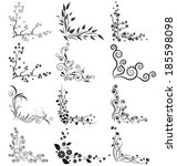 Vector Set Of Floral Corners O...