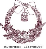 Decorative Wreath With Flowers...
