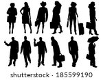 vector silhouettes of business... | Shutterstock .eps vector #185599190
