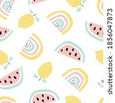 seamless pattern with fruit...   Shutterstock .eps vector #1856047873