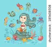 children cartoon illustration... | Shutterstock .eps vector #185608508