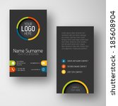 Modern simple dark vertical business card template with some placeholder | Shutterstock vector #185608904