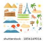 world travel cartoon landmarks  ... | Shutterstock .eps vector #1856169016