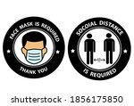 face masks required and social... | Shutterstock .eps vector #1856175850