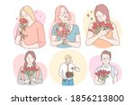 flower bouquets as presents for ... | Shutterstock .eps vector #1856213800