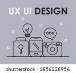ux ui design icons over gray...