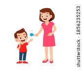 happy mother give candy and... | Shutterstock .eps vector #1856235253