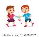 bad behavior kid bully friend... | Shutterstock .eps vector #1856235289