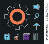 gear wheel and ui ux icons set...