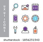 ui ux icons set over white...