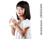 happy little asian girl holding ... | Shutterstock . vector #185631644