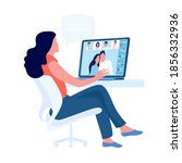 video online conference. person ... | Shutterstock .eps vector #1856332936
