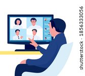 video online conference. person ... | Shutterstock .eps vector #1856333056