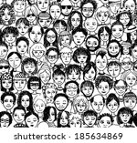 happy people   hand drawn... | Shutterstock .eps vector #185634869