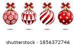 set of red christmas balls with ... | Shutterstock .eps vector #1856372746