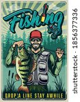 colorful fishing vintage poster ... | Shutterstock .eps vector #1856377336