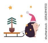 Little Hedgehog Pulling Spruce...