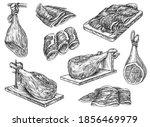 spanish jamon leg on stand and... | Shutterstock .eps vector #1856469979