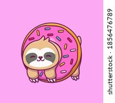 cute sloth with doughnut... | Shutterstock .eps vector #1856476789