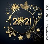 golden 2021 sign with gold bow... | Shutterstock .eps vector #1856481703
