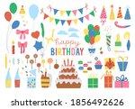 set of cute birthday design...   Shutterstock .eps vector #1856492626