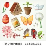 set of spring items. vector | Shutterstock .eps vector #185651333