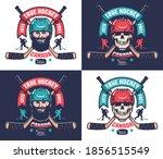 hockey club emblem in vintage... | Shutterstock .eps vector #1856515549