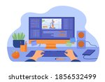 computer and monitor of graphic ... | Shutterstock .eps vector #1856532499